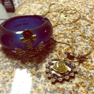 Betsey Johnson cuff anchor bracelet and necklace